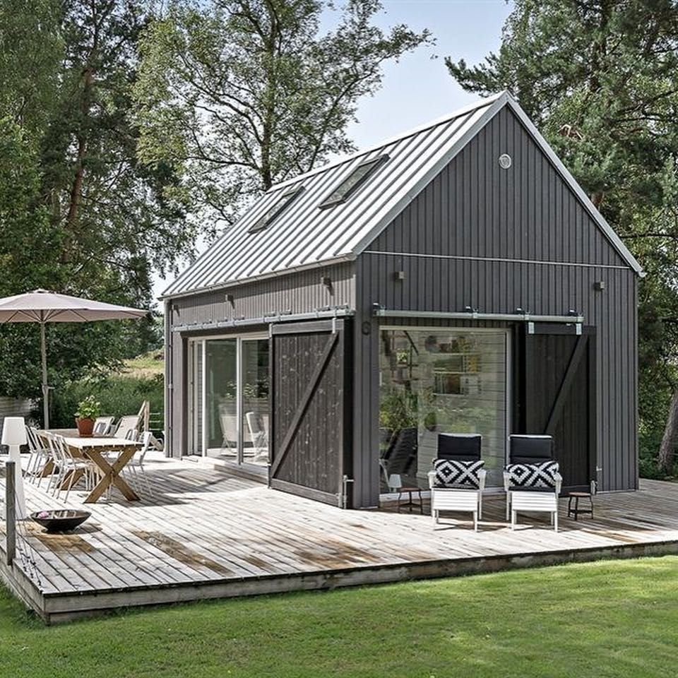 Homedit Com On Instagram Small Scandinavian House With An Aframe Shape And Porch Aframe Cabin House S Modern Barn House Tiny House Cabin Barn Style House