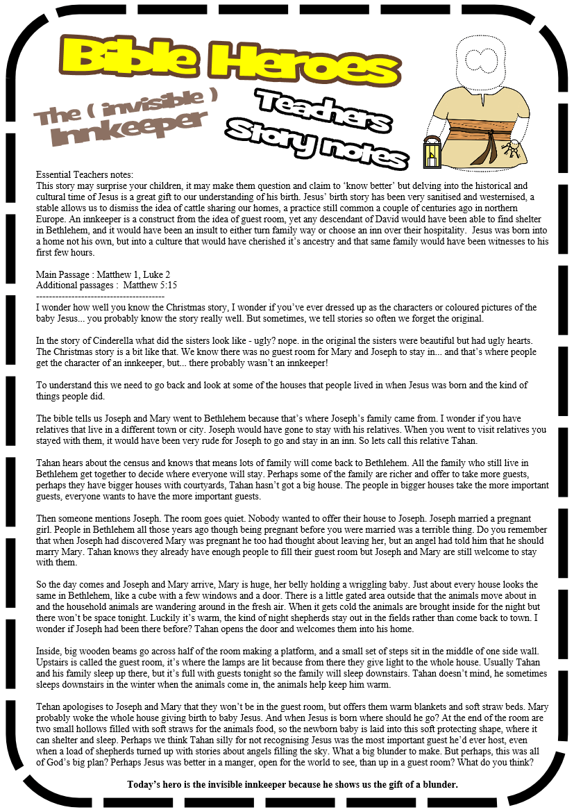 The Invisible Innkeeper Story Jesus Without Language Sunday School Lessons Sunday School Kids Bible Lessons For Kids [ 1169 x 827 Pixel ]