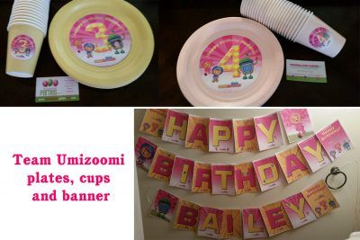 Personalized Team Umizoomi plates cups and banner in pink