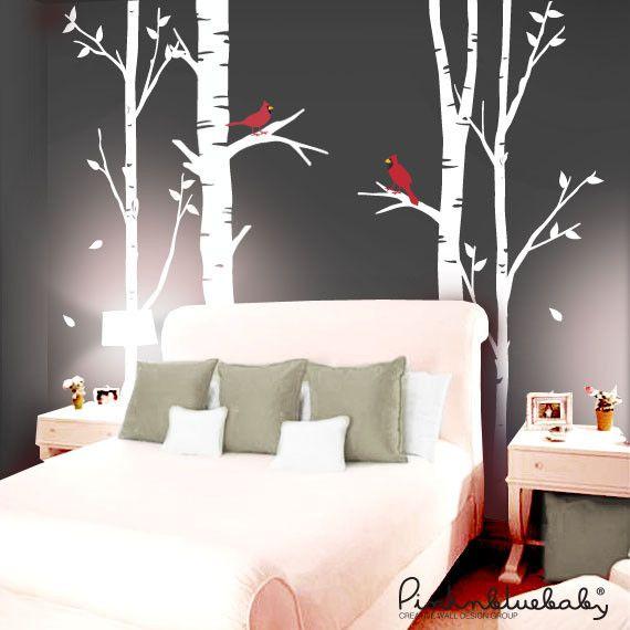 Birch Trees And Cardinal Birds Bird Wall Decals Birch Tree Wall Decal Cardinal Birds