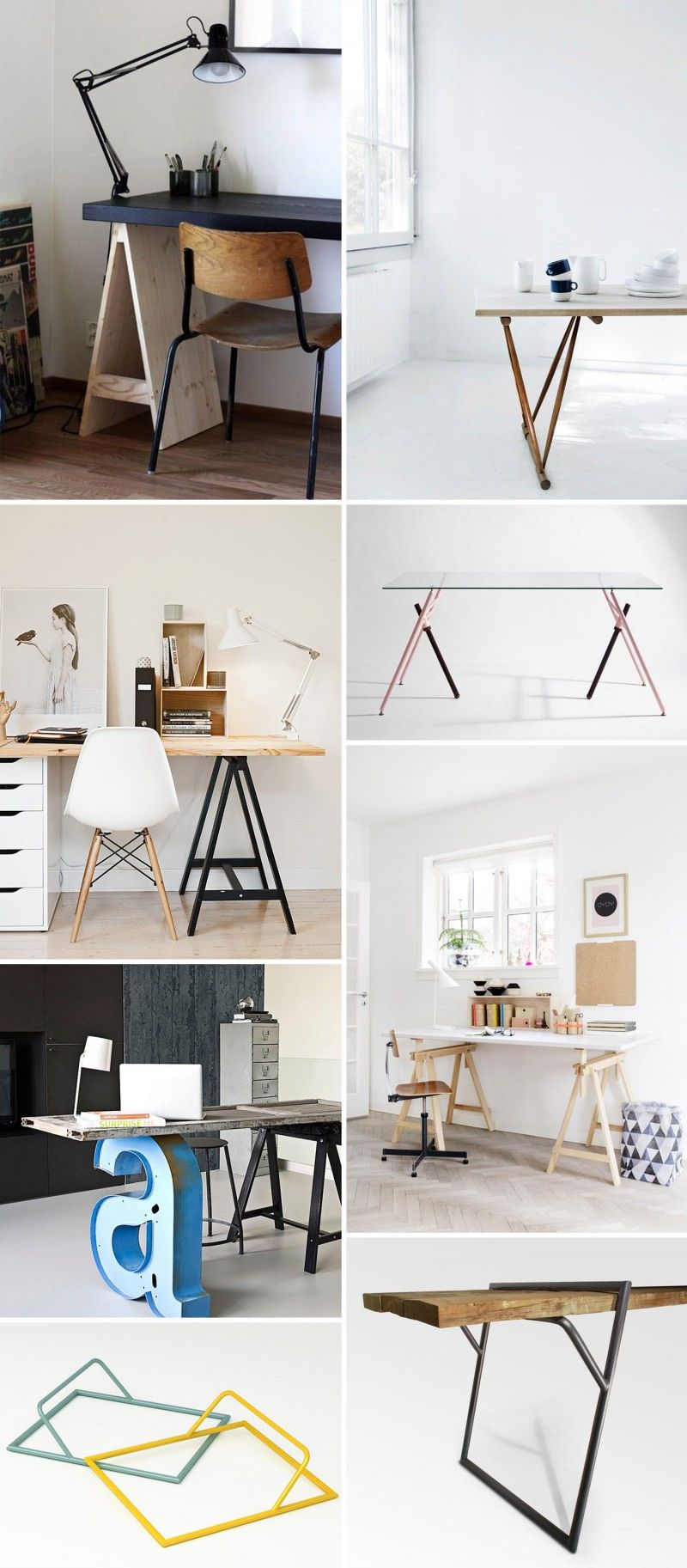 tr teaux 39 id es d co pour cr er une table ou un bureau home sweet home schreibtisch. Black Bedroom Furniture Sets. Home Design Ideas