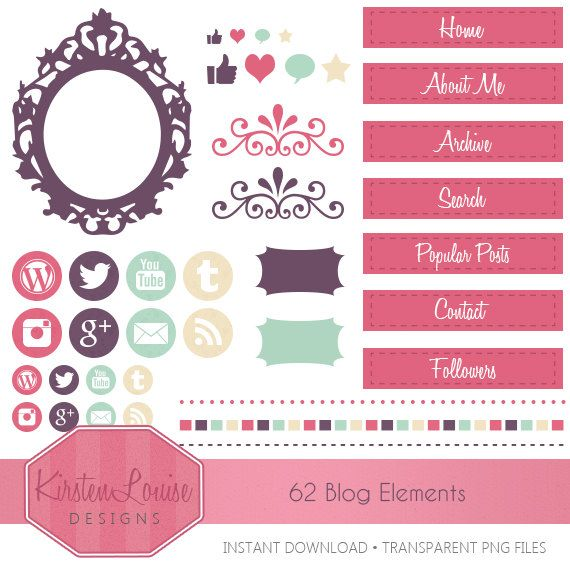 62 Girly Blog Elements Blog Design Website by KirstenLouiseDesign ...