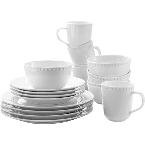 Canopy Beaded Porcelain 16 Piece Dinnerware Set White
