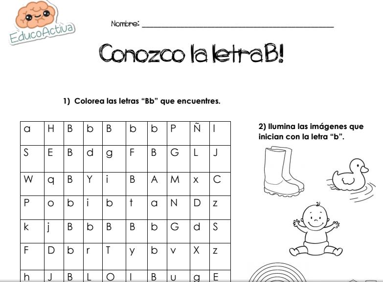 CONOZCO LA LETRA B! | LETRA B | Pinterest | Ideas para y Spanish