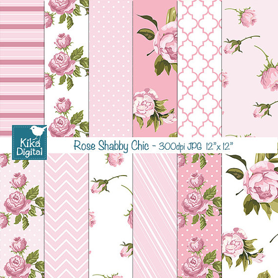 Photo of Pink Shabby Chic Digital Papers, Digital Scrapbook Papers, Shabby Chic Papers – card design, invitations, background – INSTANT DOWNLOAD