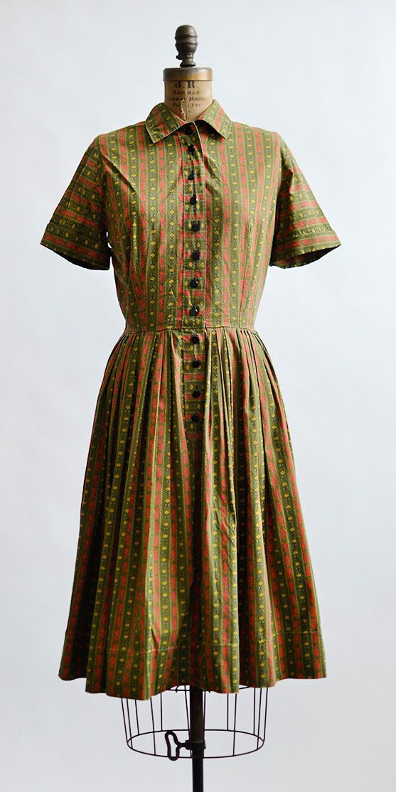 Vintage 1960s Olive And Red Striped Cotton Dress Kennewick Farm Dress From Adored Vintage 1 Vintage Outfits Vintage Inspired Outfits Vintage Clothing Online