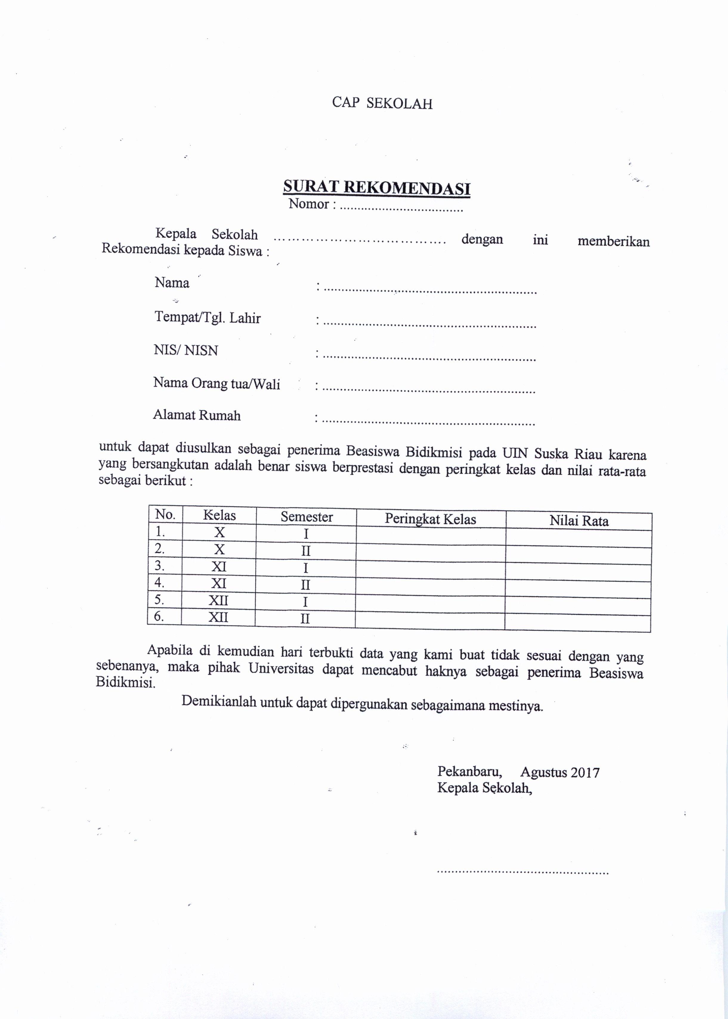 Contoh Surat Rekomendasi Beasiswa Bidikmisi Dari Sekolah Sheet Music Image