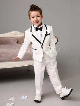 20 Formal Boy White Suit Tail Satin Tuxedo Kid Teen Free Red Bow Tie