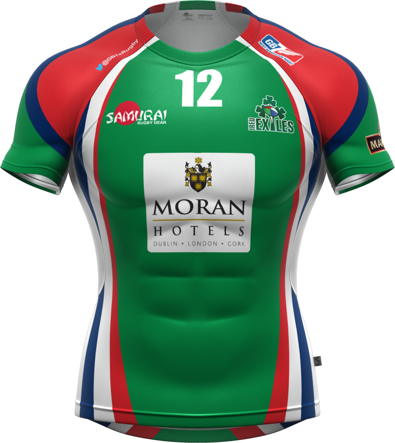 The Irish Exiles 7s Team Rugby Shirt Part Of Their Samurai Rugby Kit For The 2014 Gb7s Series Www Samurai Sports Com Rugby Uniform Rugby Kit Rugby Shirt