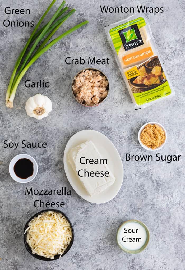 overhead view of ingredients to make crab rangoon dip #crabrangoondip