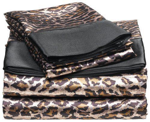 satin leopard sheets safari bedding for new bedroom with a black comforter leopard print. Black Bedroom Furniture Sets. Home Design Ideas