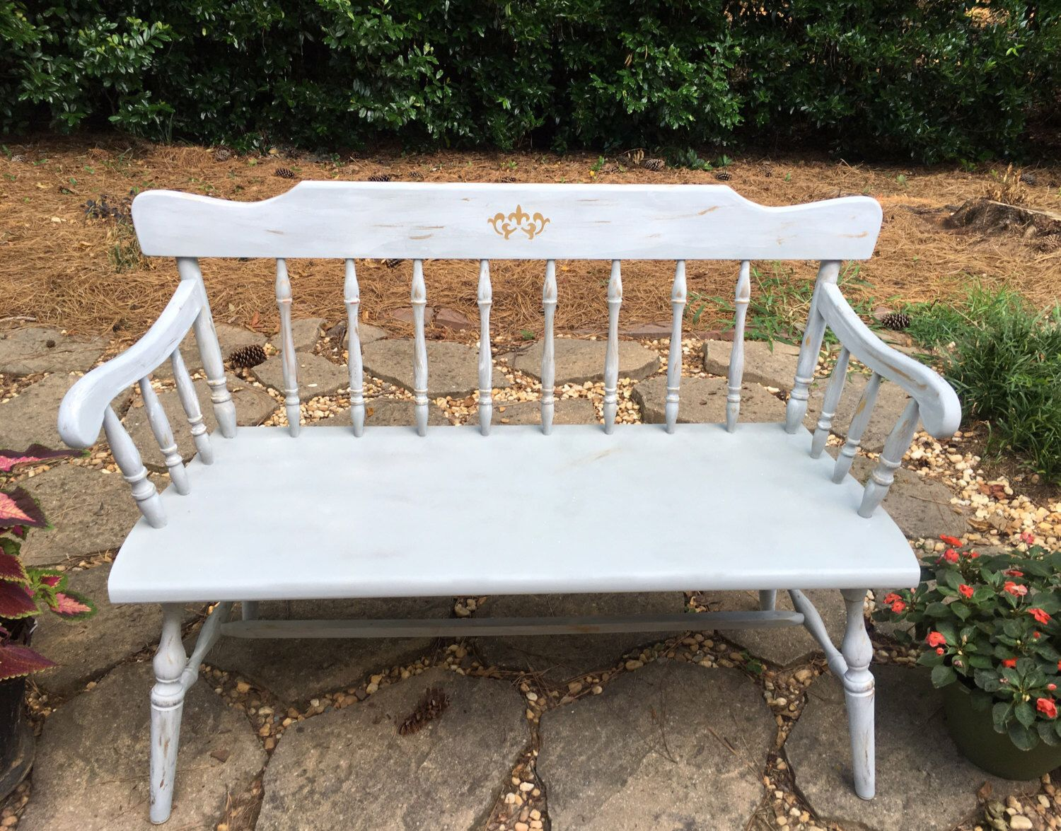 Shabby Chic Bench ~ Vintage chalk painted deacon bench distressed country