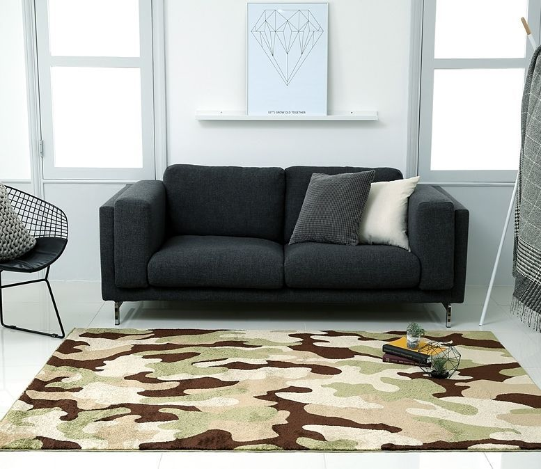Big Camouflage Pattern Rug Carpet Army Military Decor