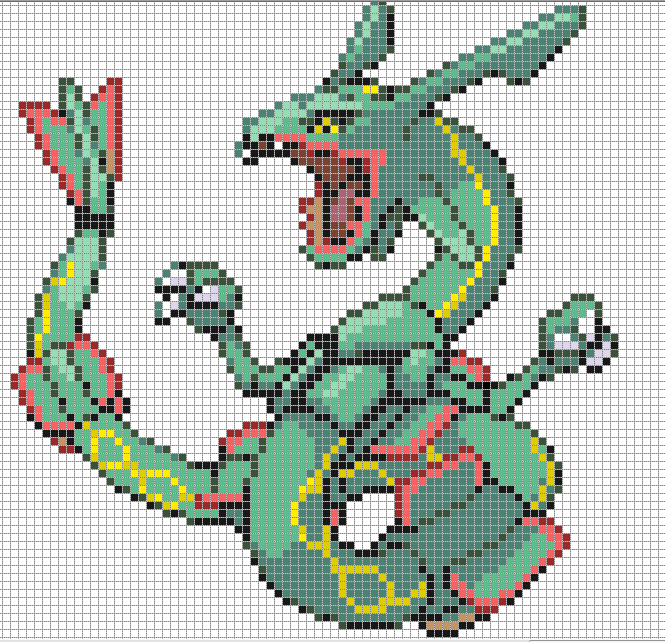Rayquaza Large By Hama Girl On Deviantart Pixel Art Grid