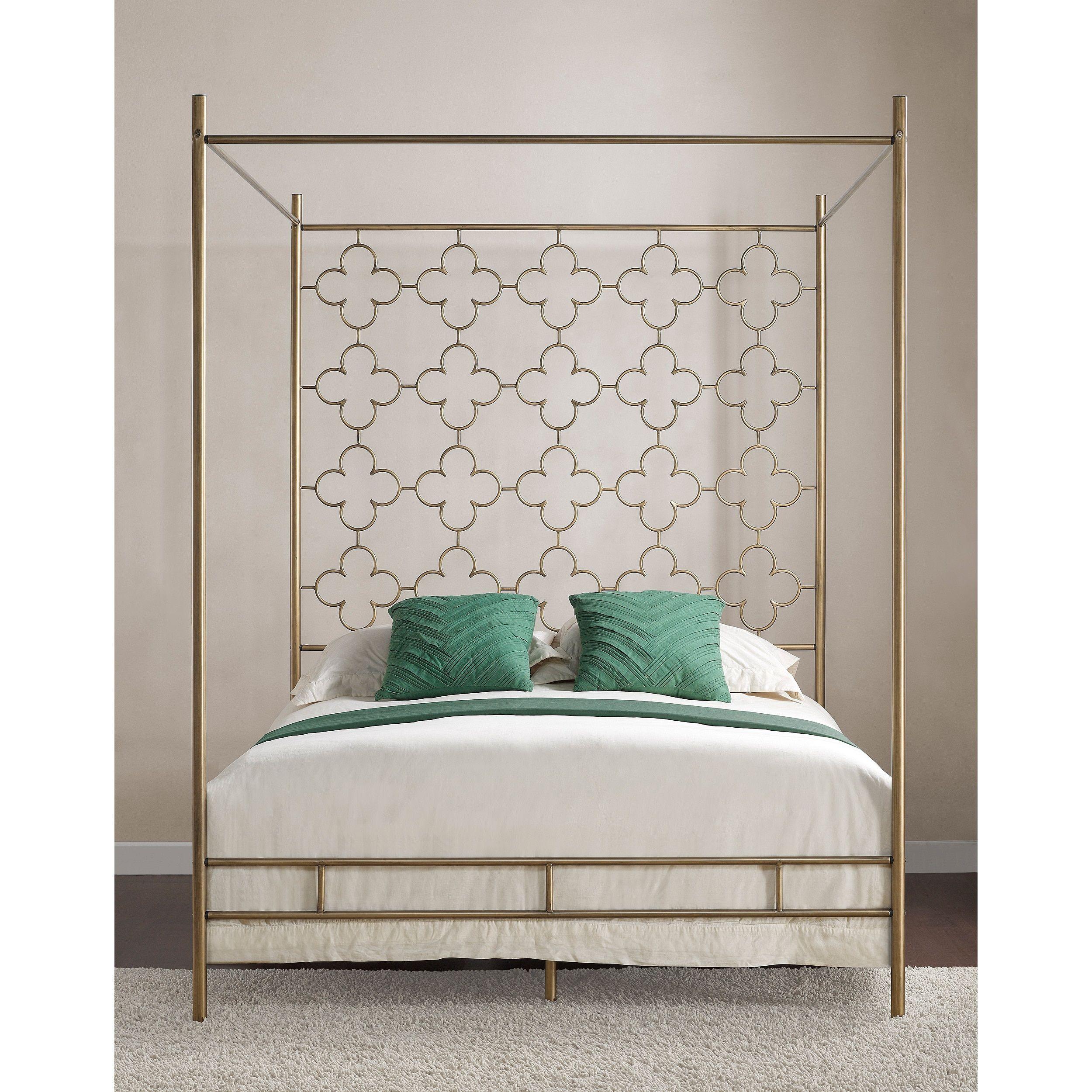 Retro Glitz Quatrefoil Queen Canopy Bed | Overstock.com Shopping - The Best Deals on  sc 1 st  Pinterest & Retro Glitz Quatrefoil Queen Canopy Bed | Overstock.com Shopping ...