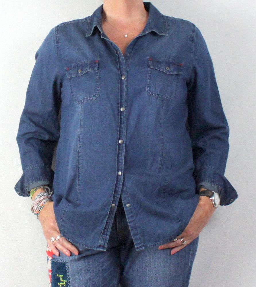Cute J Jill Denim Blouse L size Womens Blue Cotton Snap Front Top Casual Lightweight Shirt