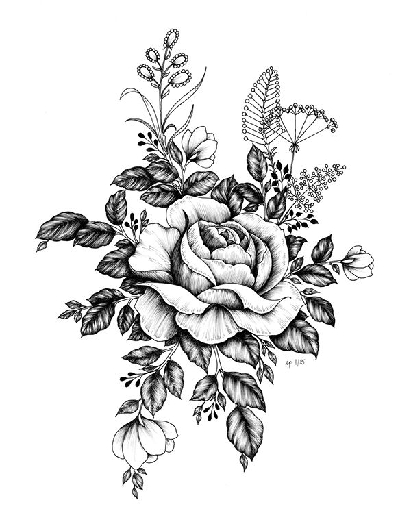 Tattoo Outlines Flowers Black And White: Pin By Juan Vega On Drawings