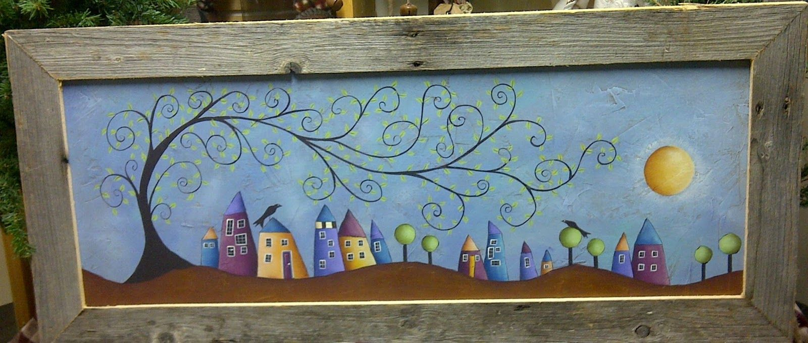 I just love the tree and the whimsy houses.  I would love to know who the original artist is, if any on knows please comment. (Painted by Deb A.)