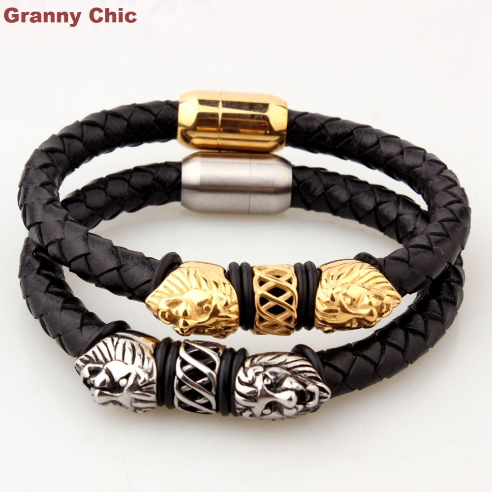 Granny chic hot sell jewelry for men silvergold lion head black