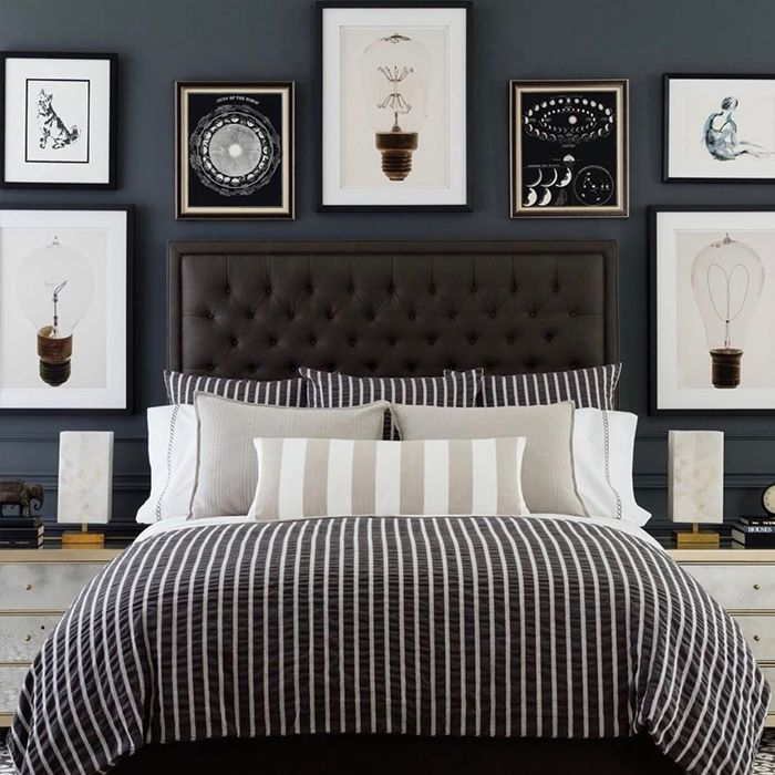 Create a beautiful wall display in your master bedroom with black and white prints. #wallprint #bedroom #wallart #gallerywall #home #homedecor #homestylist #Blackbed #masterbedroom #bedroomprint #interior #interiordecor #decor #styling #decor #walldeco #interiorinspiration #homeanddecor #interiorart #interiorwallsdecoration #frames #artdeco
