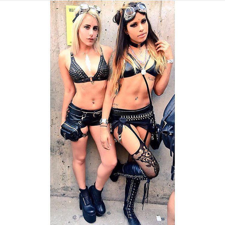 @bella_bronson in @jungletribela Full Stud Leather Bra. #moma #madmax #burnbabes #jungletribe (Repost @bella_bronson)