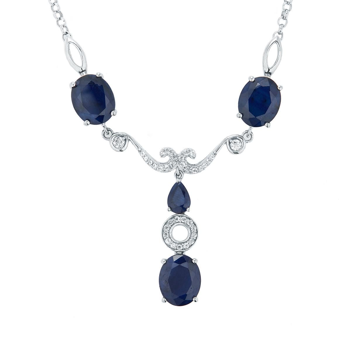 An engaging Necklace from the Annabella collection, made of Sterling Silver featuring 14.73cts of amazing Madagascan Blue Sapphire and White Topaz.