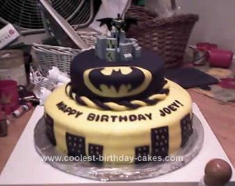 Cool Homemade Black and White Batman Birthday Cake Design Batman