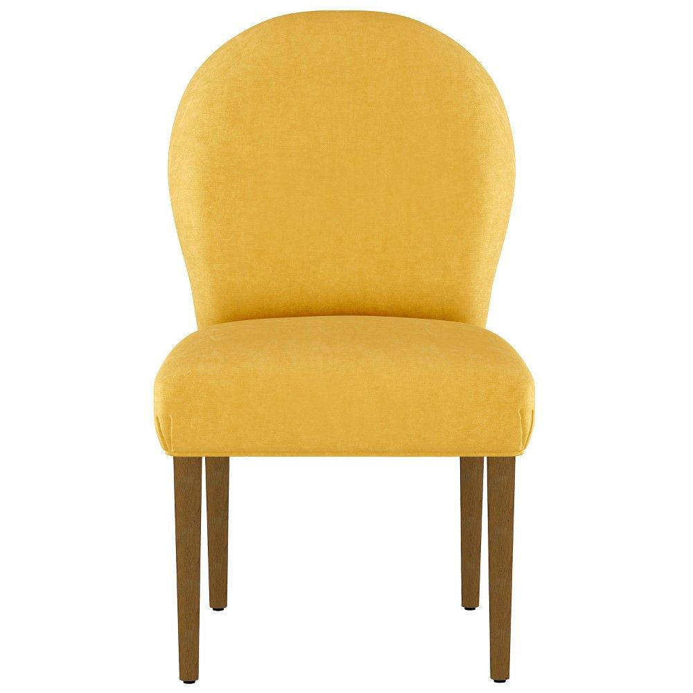 Caracara rounded back dining chair yellow velvet