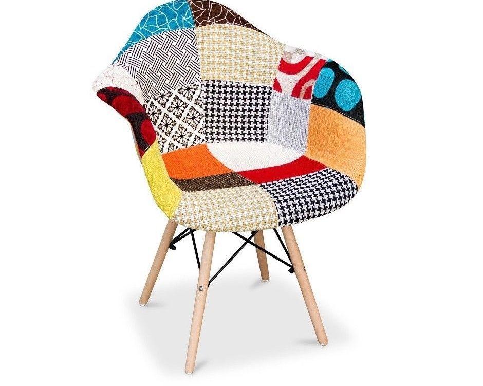 Sedia poltrona wooden foderata tessuto patchwork piedi legno di