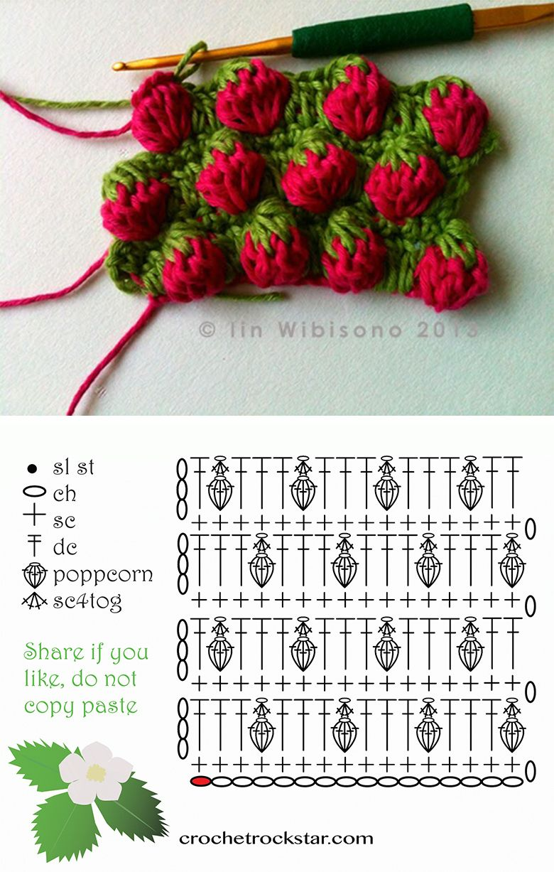 How To Easy Crochet Strawberry Stitch #crochettutorial