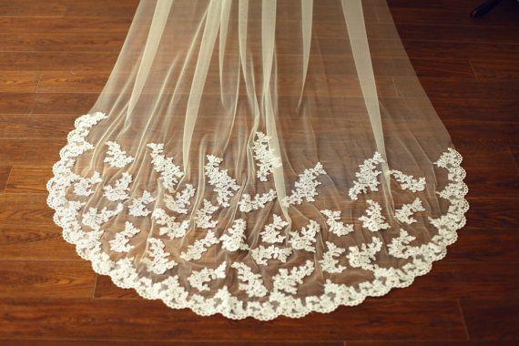 French Alencon Lace Veil/Bridal Veil/Wedding Veil/3M by misdress -- $75