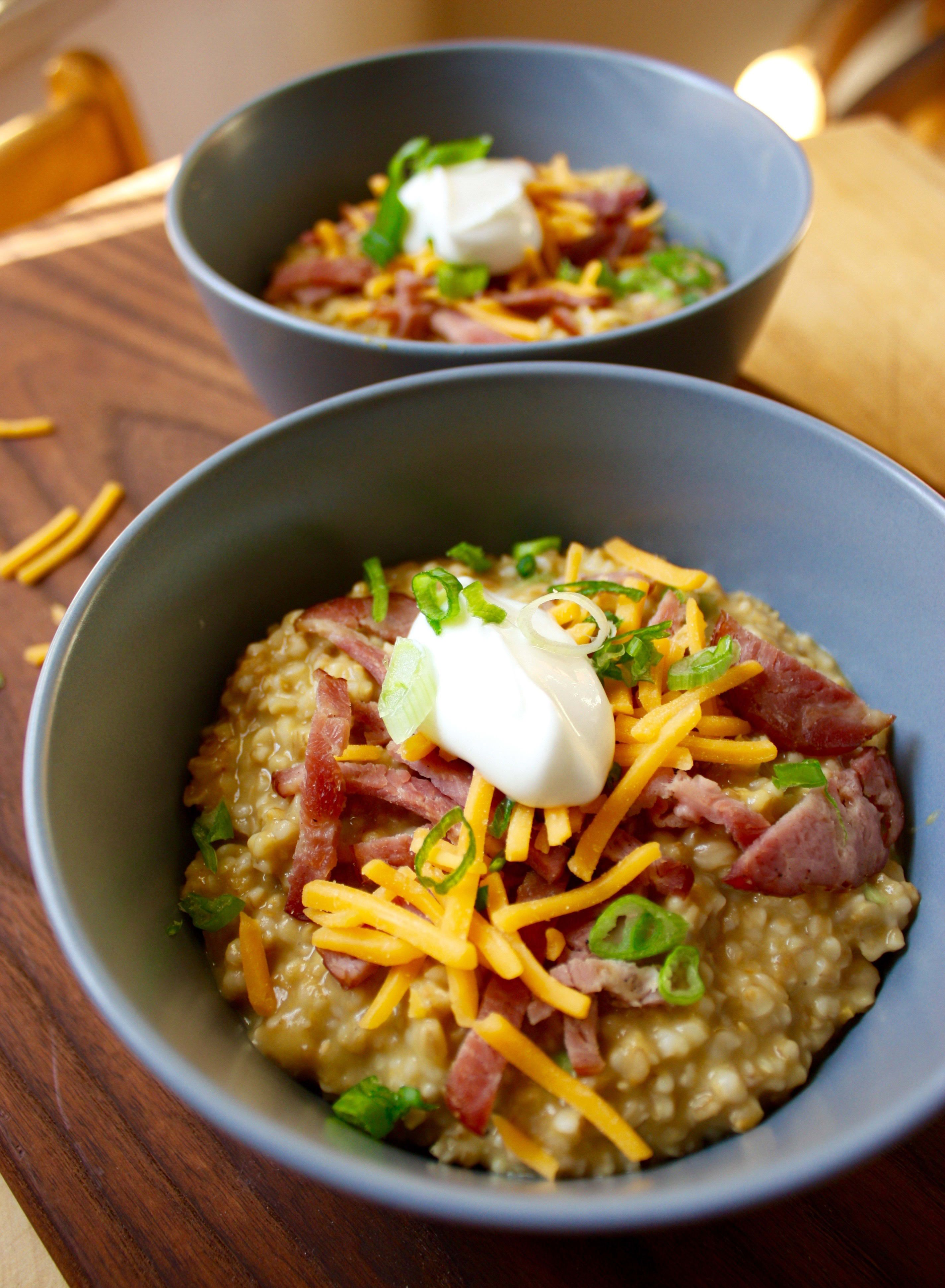 SAVORY IRISH OATS WITH TURKEY BACON CHEDDAR AND CHIVES