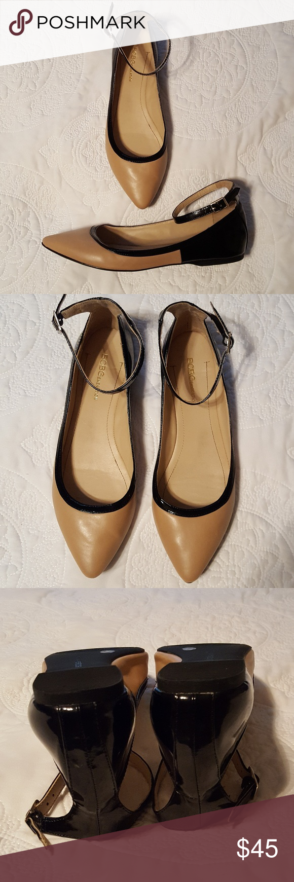 "BCBGeneration Ankle Strap ""Malinda"" Flats Perfect condition! Tan and Black patent ankle strap Flats. Pointy toe. Silver Buckle. Unbelievably comfortable! BCBGeneration Shoes Flats & Loafers"