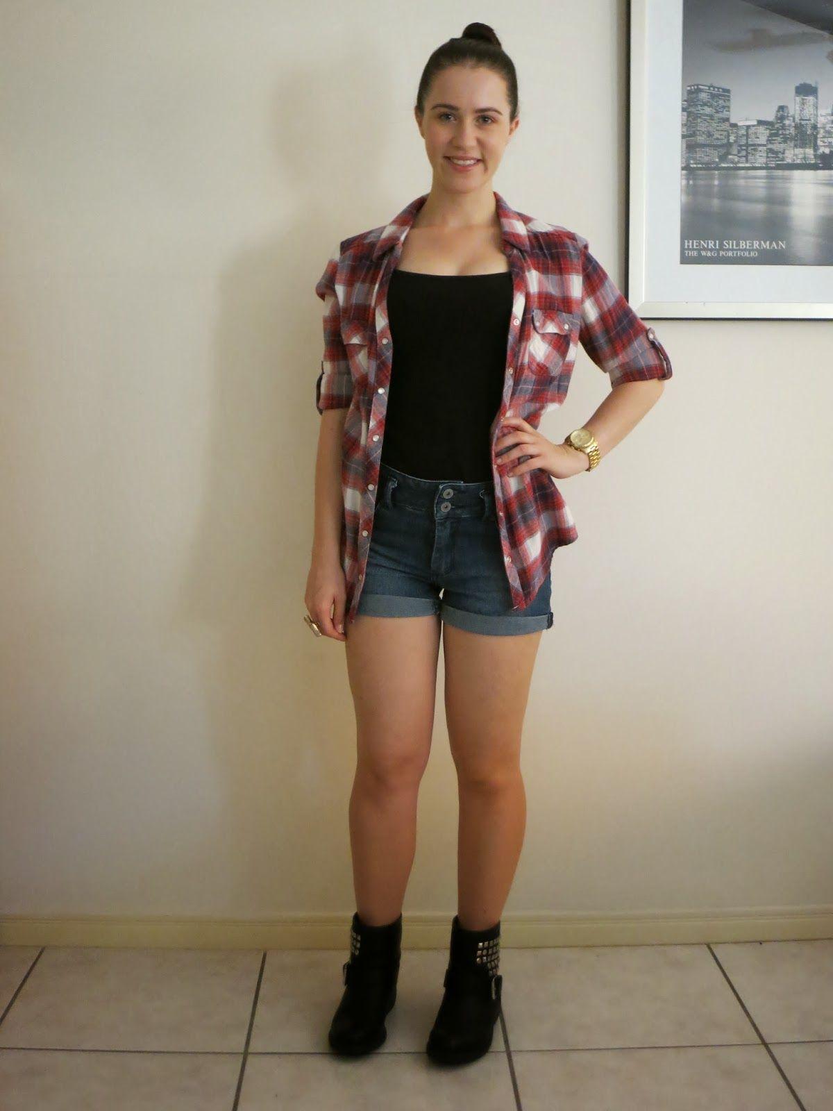 Flannel shirt with shorts  Plaid Denim u Biker Boots  My Pretty Little Liars  Pinterest