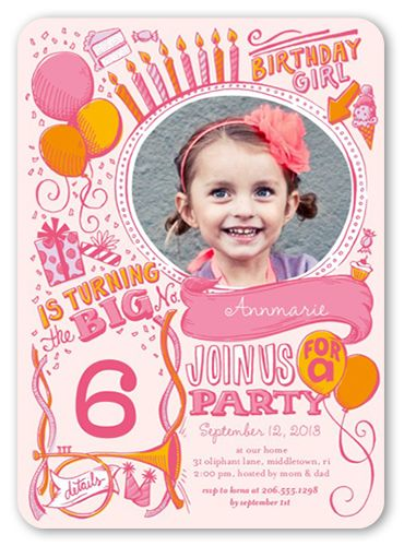 Festive Doodles Girl 5x7 Invitation Card Birthday