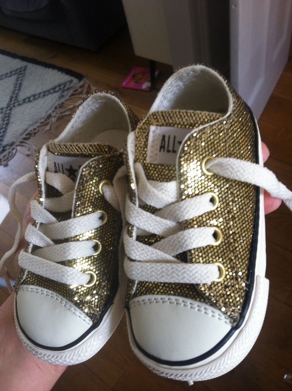 Baby White Converse Pram Shoes Flower Girl Junior Bridesmaid Gold Glitter Converse