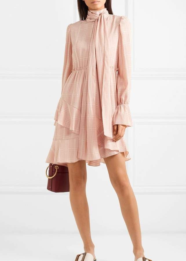 c17156223b See by Chloe Tie Neck Dress In Smoky Pink