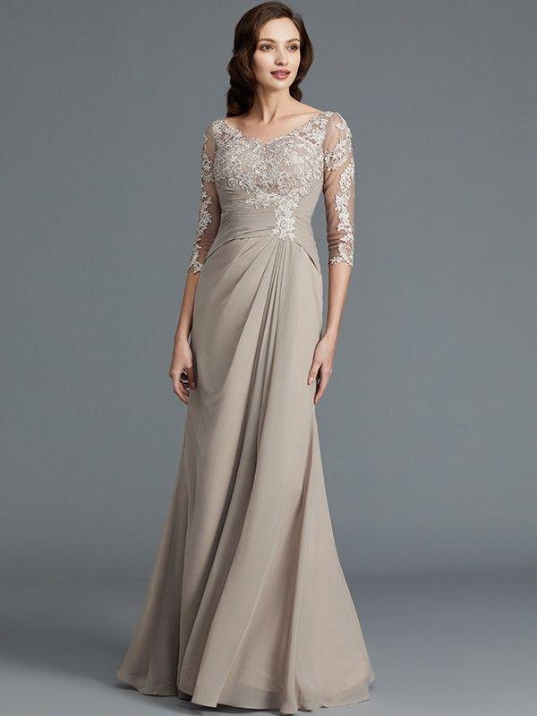 2a0c0231c9da4 A-Line/Princess 1/2 Sleeves Scoop Applique Chiffon Floor-Length Mother of  the Bride Dresses