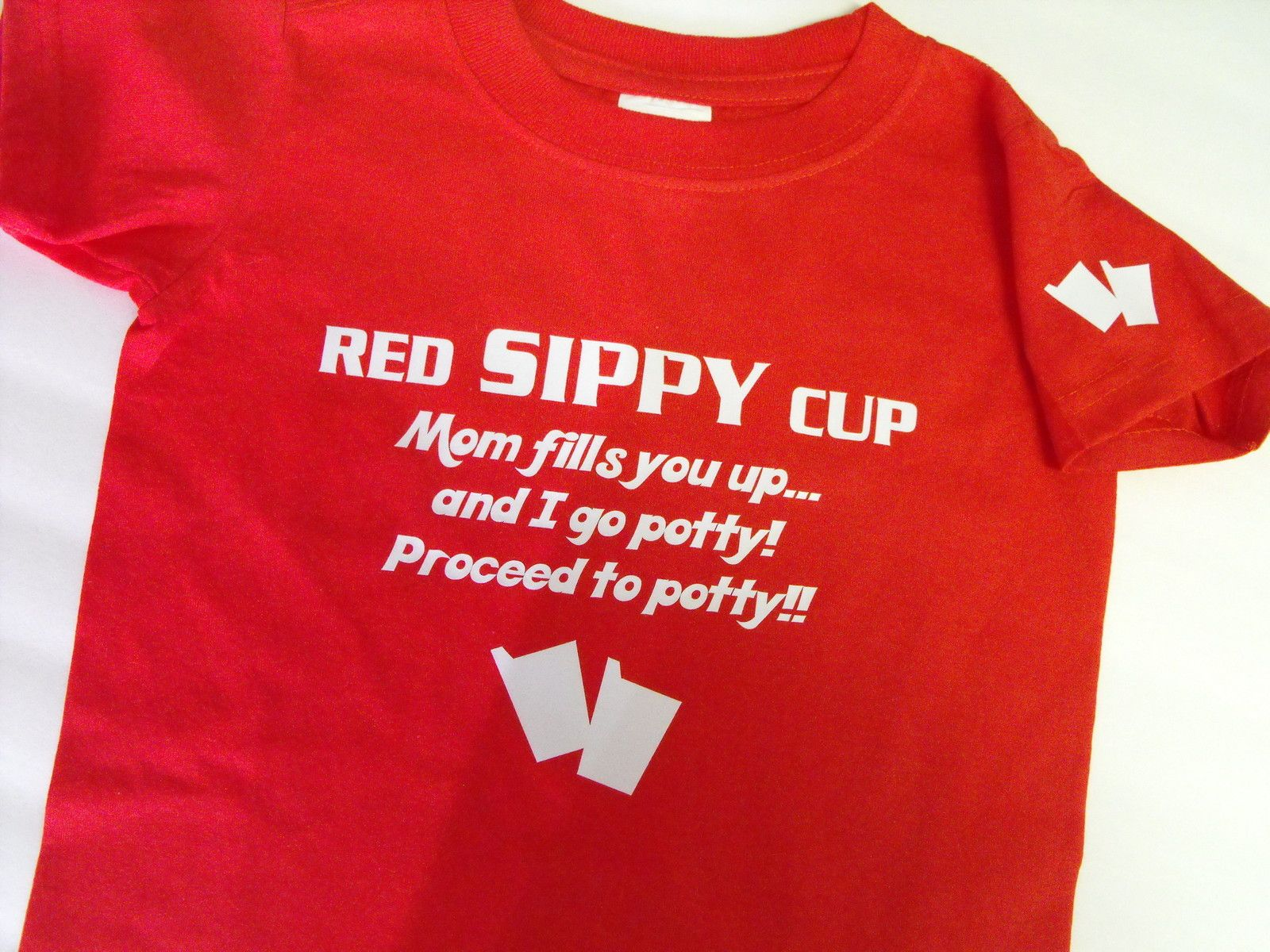 Red SIPPY cup, Mom fills you up... and I go potty! Process to potty!!  Too cute!!