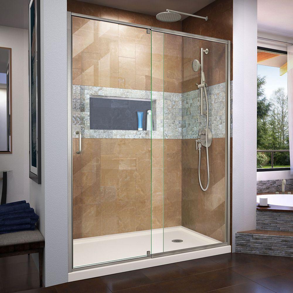 Flex 30 Inch D X 60 Inch W Shower Door In Brushed Nickel With