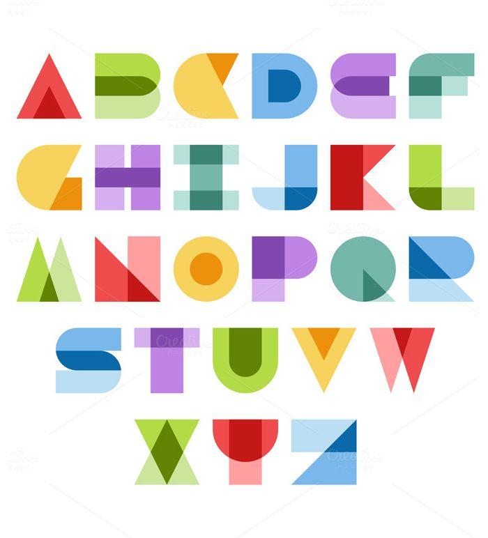 19 Best Abstract Fonts Geometric Font Font Illustration Lettering Design