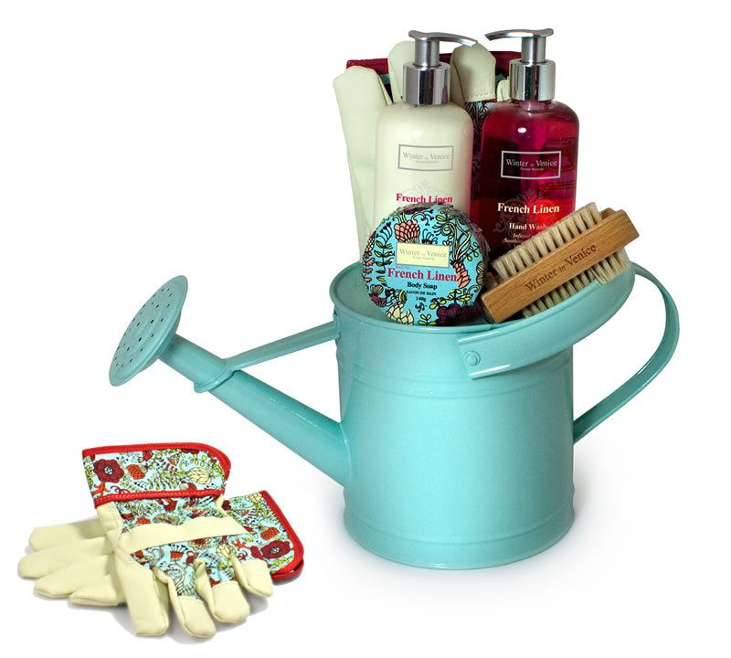 French linen watering can gift ideas pamper hamper
