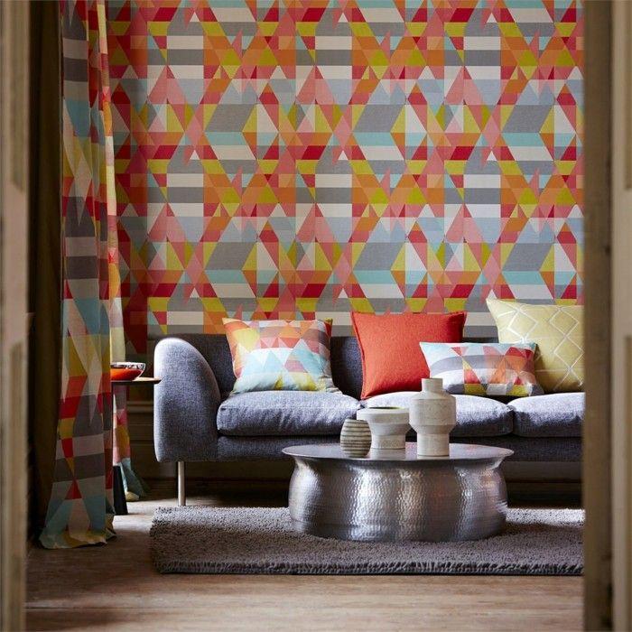 Tapeten Ideen Ausgefallenes Muster In Frischen Farben