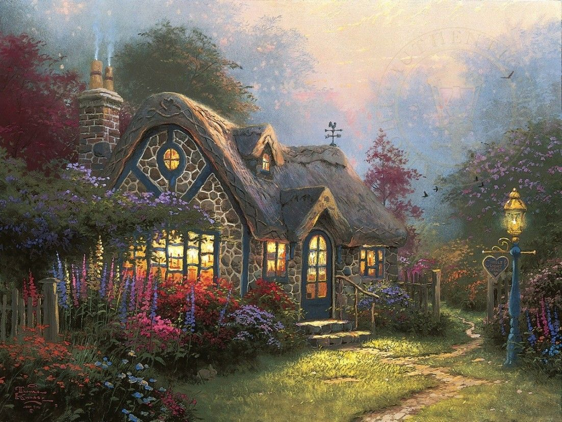 Candlelight cottage art itecture art thomas thomas - Home interiors thomas kinkade prints ...