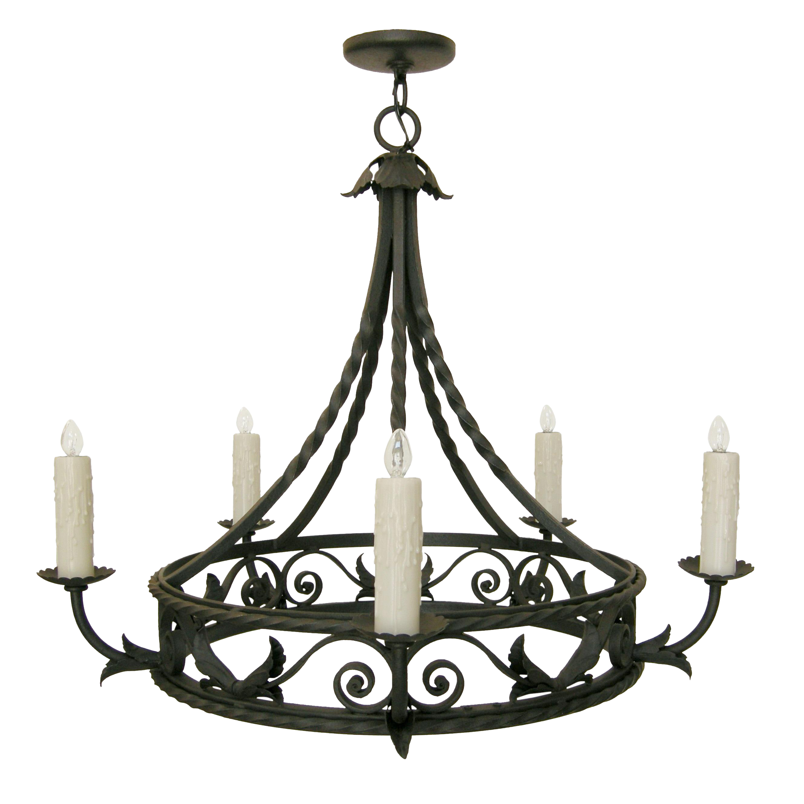 Elegant Spanish Mediterranean Wrought Iron Chandelier by Randy