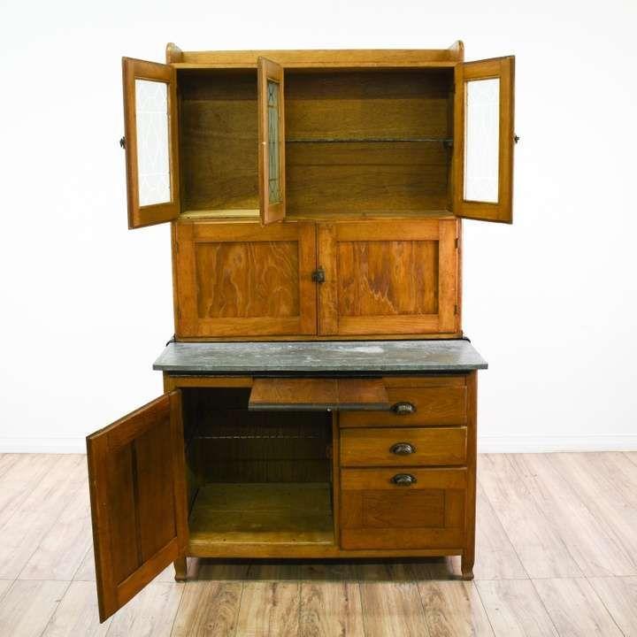 Hoosier Kitchen Cabinet w/ Glass Top Doors - Loveseat is ...