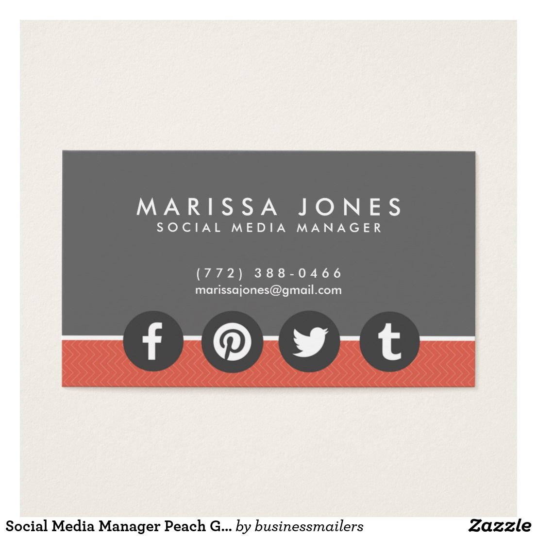 Social Media Manager Peach Gray Business Cards