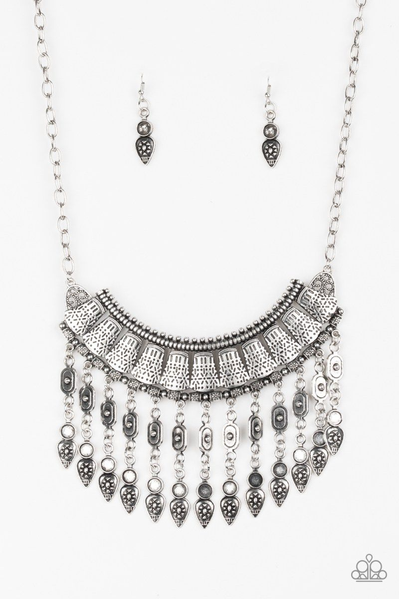 9f526804f Paparazzi The Desert is Calling Tribal Silver Plate Crescent 2018  Convention Necklace and Earring Set