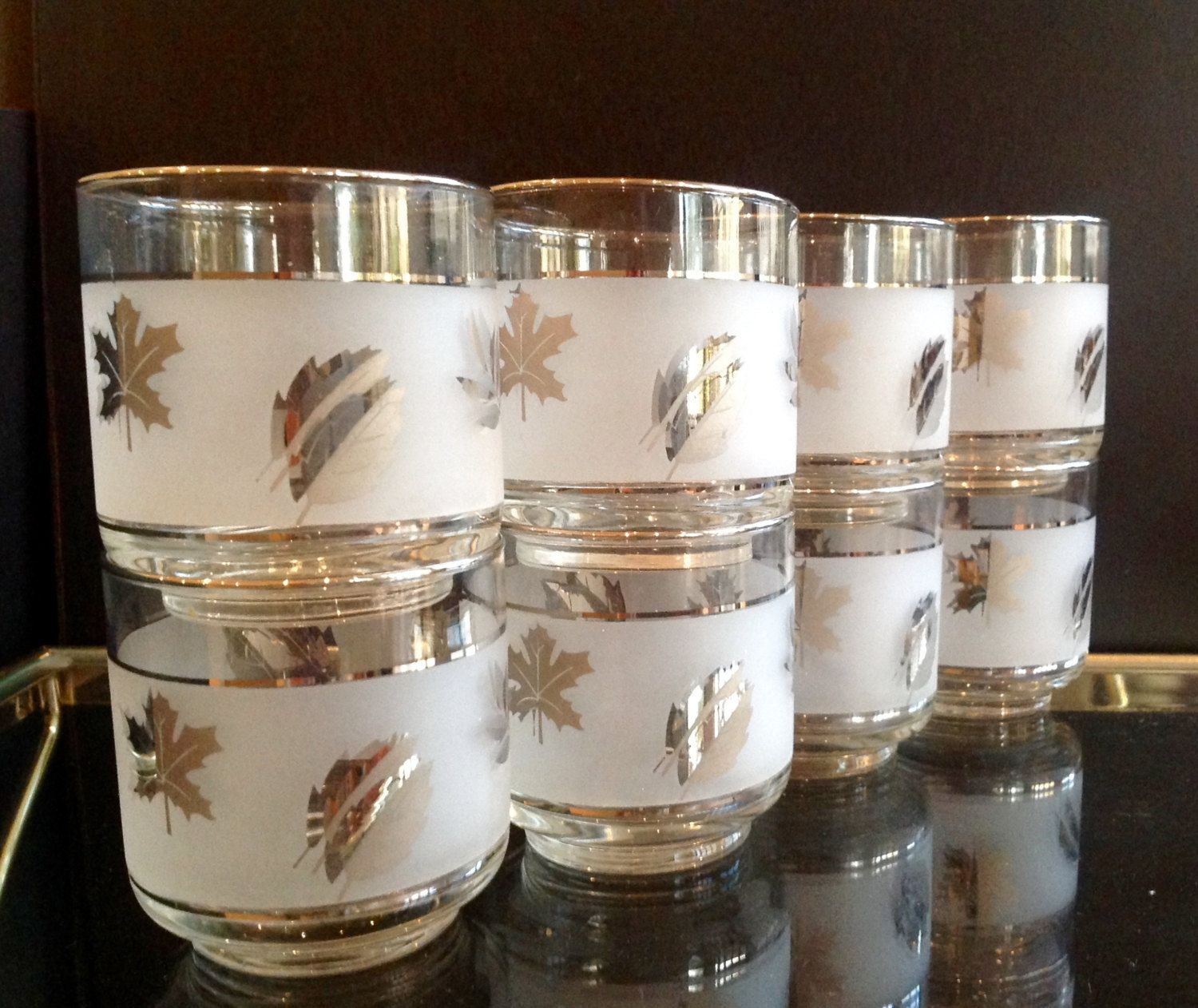 Vintage Set of 8 Glasses - Frosted Leaves - Mid Century Modern - Retro Cool - Libbey