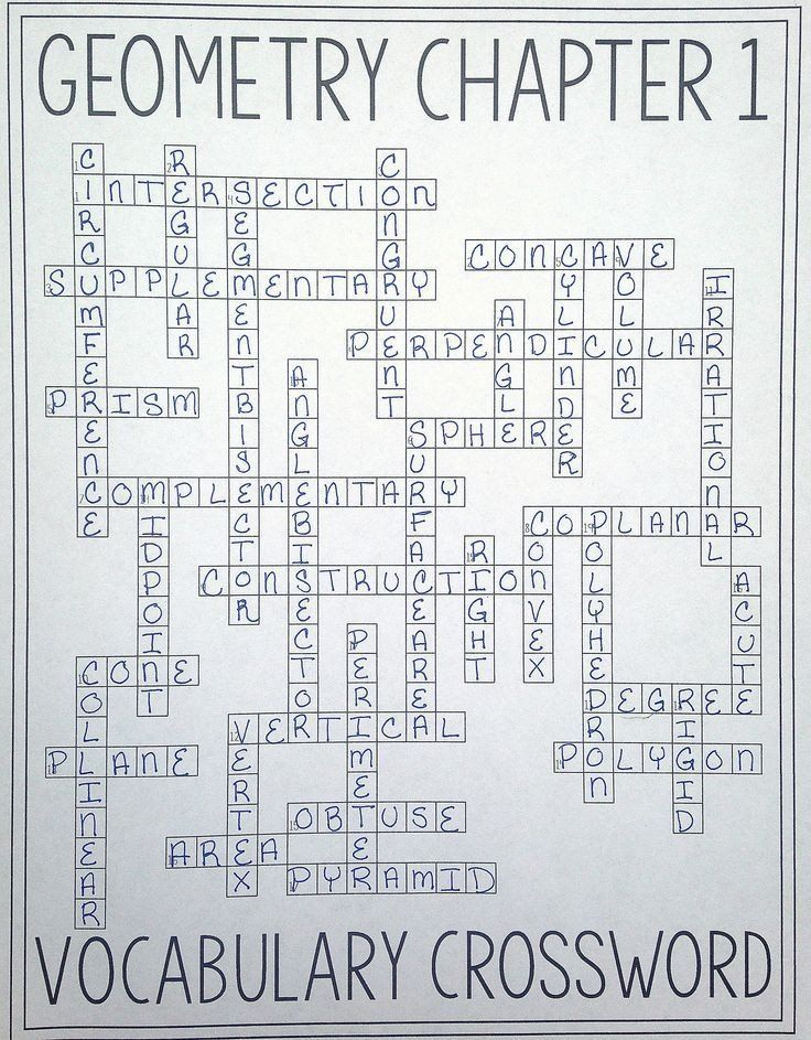 8th Grade Math Vocabulary Crossword Geometry Chapter 1